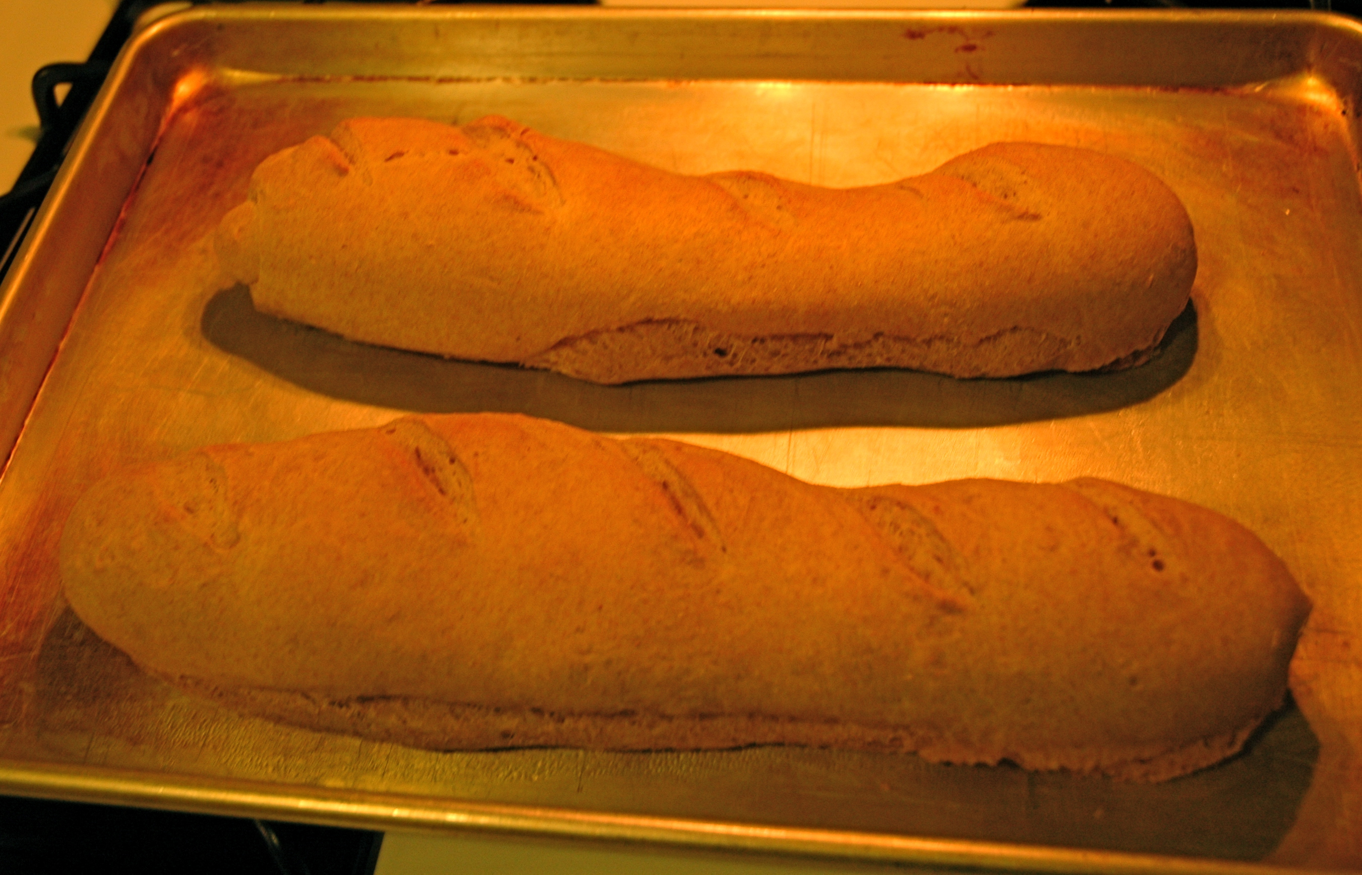 Home baked French loaves.