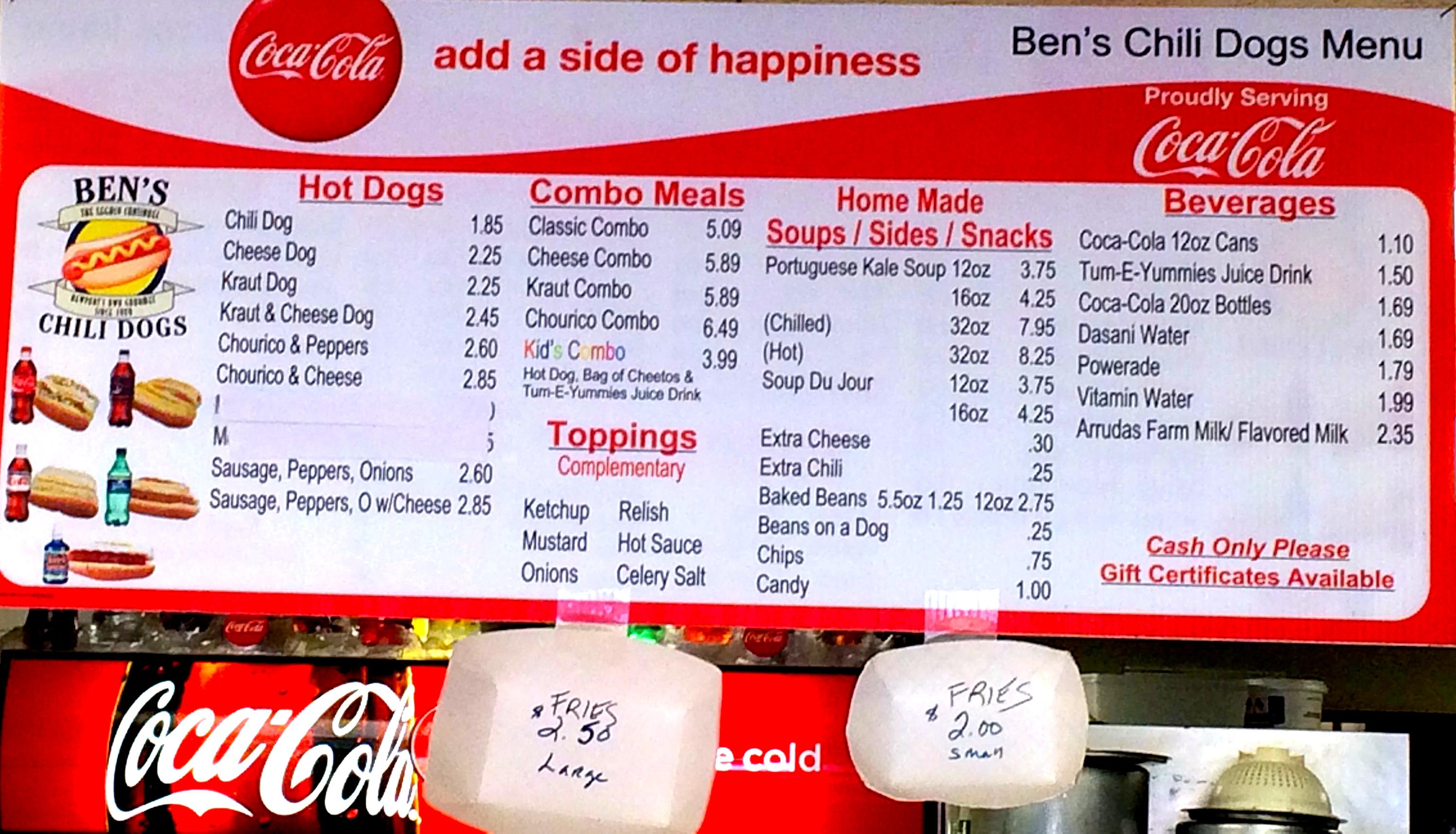 Ben's Chili Dogs menu