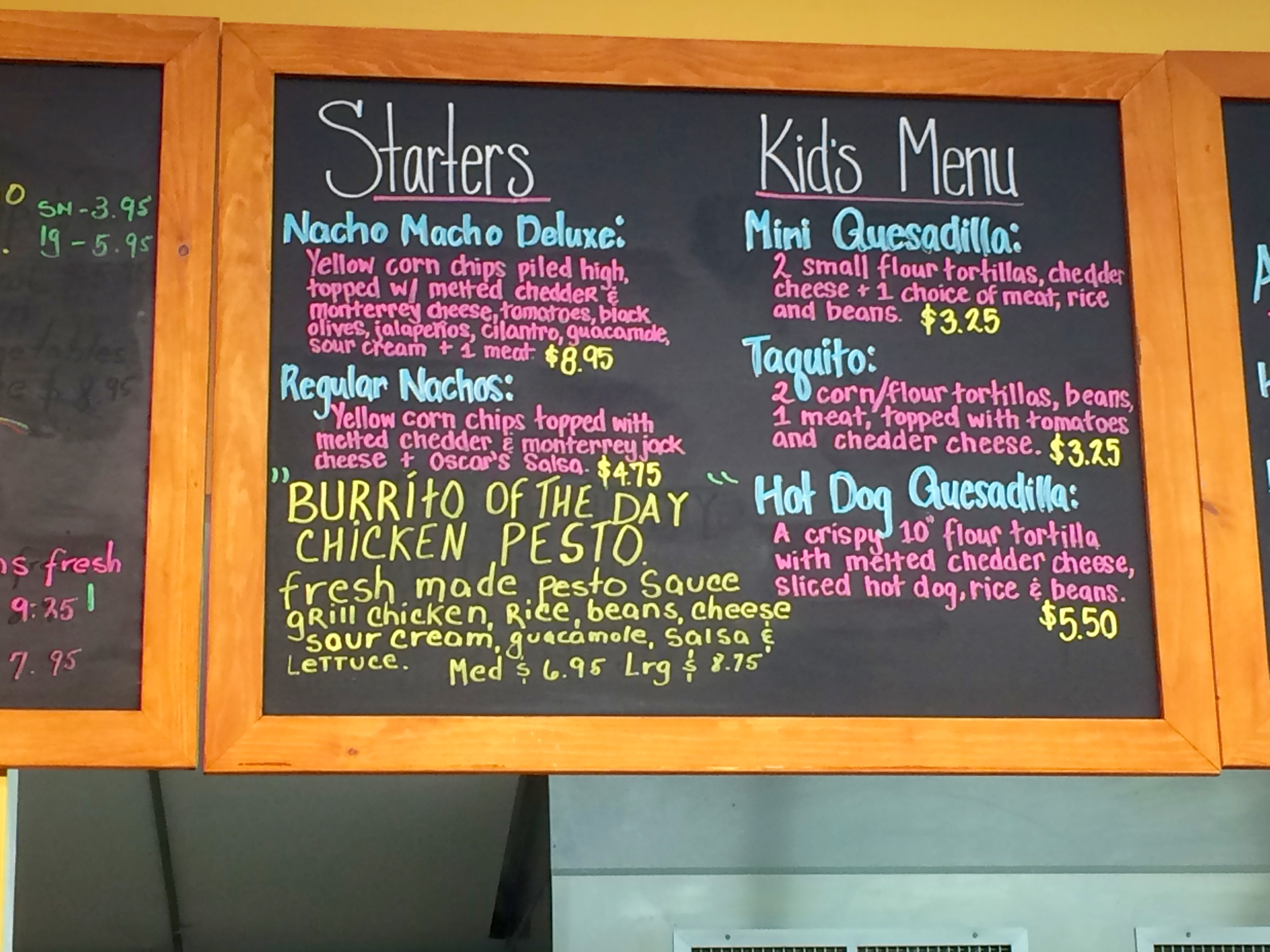 Oscar's Burritos Menu